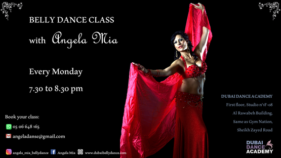 Belly dance classes flyer.